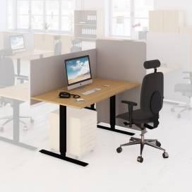 Arbetsplats Bord + Stol + Bordsskärm + Golvskärm Ek