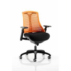 Piero, Designstol med svart ram - Orange ryggstöd