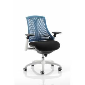 Piero, Designstol med vit ram - Blått ryggstöd