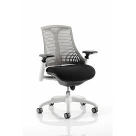 Piero, Designstol med vit ram - Grått ryggstöd