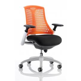 Piero, Designstol med vit ram - Orange ryggstöd