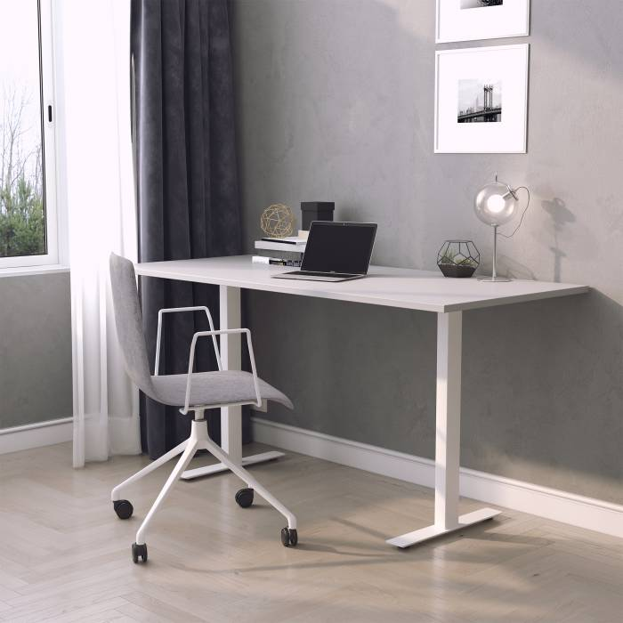 Underbar Skrivbord, vitt stativ och ljusgrå skiva - Elite-Kontorsmöbler QP-04