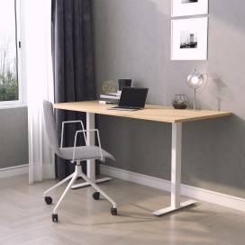 Skrivbord Vaxholm, vitt stativ och ekskiva