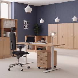 Höj- och sänkbart skrivbord, Vitt stativ och bok skiva