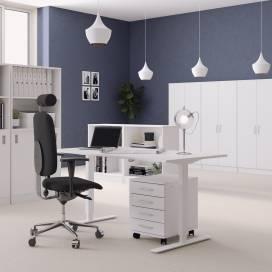 Höj- och sänkbart skrivbord, Vitt stativ och vit skiva