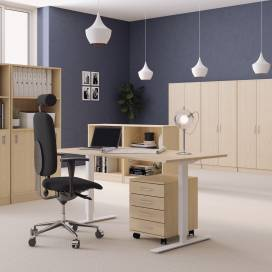 Höj- och sänkbart skrivbord, Vitt stativ och björk skiva