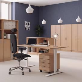 Höj- och sänkbart skrivbord, Svart stativ och bok skiva
