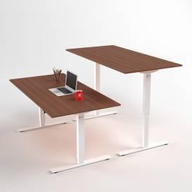 Höj- och sänkbart skrivbord, Vitt stativ och valnötskiva