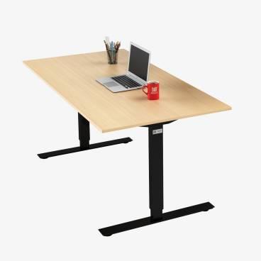 Skrivbord, Svart stativ och björk skiva