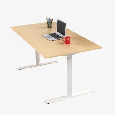 Skrivbord, Vitt stativ och björk skiva