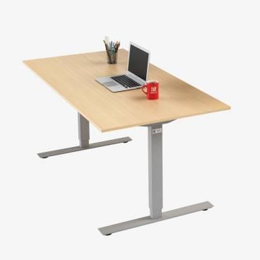 Skrivbord, Silver stativ och björk skiva