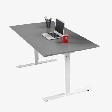 Skrivbord, Vitt stativ och grå skiva