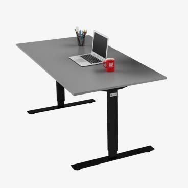 Skrivbord, Svart stativ och grå skiva