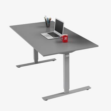 Skrivbord, Silver stativ och grå skiva