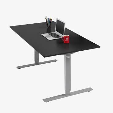 Skrivbord, Silver stativ och svart skiva