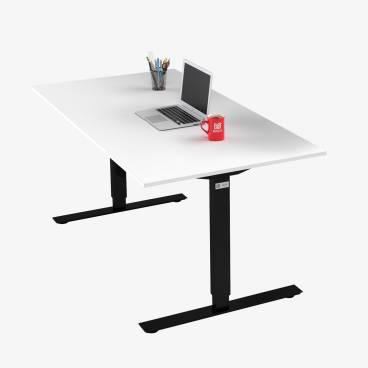 Skrivbord, Svart stativ och vit skiva