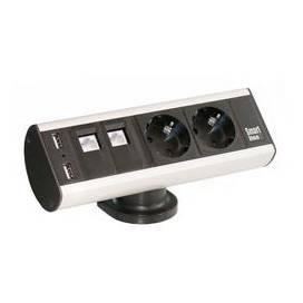 Axessline Desk - 2 El 2 Data 2 USB, Alu/Svart