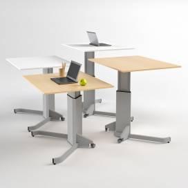 El-Skrivbord med enpelar stativ, Björk skiva
