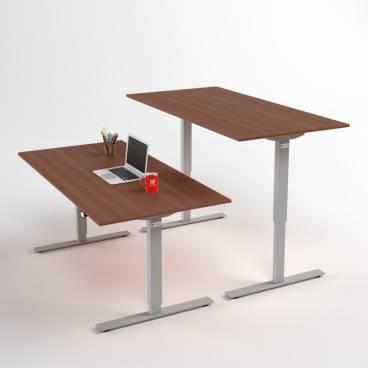 Höj- och sänkbart skrivbord, Silverstativ och valnötskiva