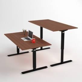 Höj- och sänkbart skrivbord, Svart stativ och valnötskiva
