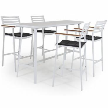 Olivet Bargrupp, vit aluminium/teak
