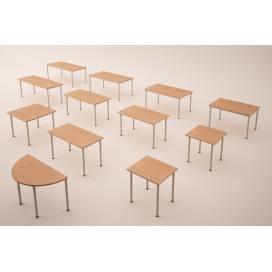 Halvrund skrivbord med 4 ben, 1200x600mm