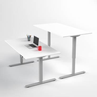 Höj- och sänkbart skrivbord, Silver stativ och vit skiva