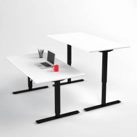 Höj- och sänkbart skrivbord, Svart stativ och vit skiva