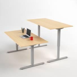Höj- och sänkbart skrivbord, Silver stativ och björk skiva