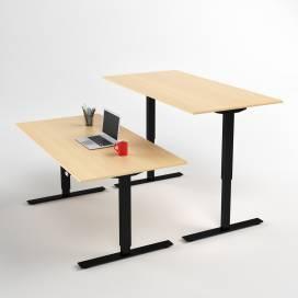 Höj- och sänkbart skrivbord, Svart stativ och björk skiva