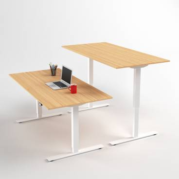 Höj- och sänkbart skrivbord, Vitt stativ och ek skiva