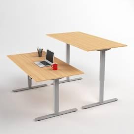 Höj- och sänkbart skrivbord, Silver stativ och ek skiva