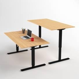 Höj- och sänkbart skrivbord, Svart stativ och ekskiva