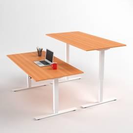 Höj- och sänkbart skrivbord, Vitt stativ och bokskiva