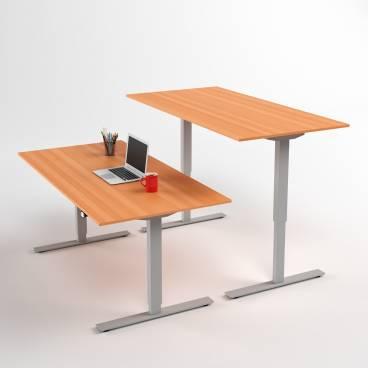 Höj- och sänkbart skrivbord, Silver stativ och bok skiva
