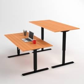 Höj- och sänkbart skrivbord, Svart stativ och bokskiva