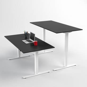 Höj- och sänkbart skrivbord, Vitt stativ och svart skiva