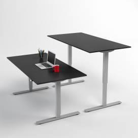 Höj- och sänkbart skrivbord, Silverstativ och svart skiva