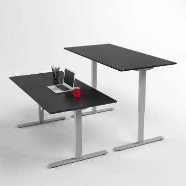 Höj- och sänkbart skrivbord, Silver stativ och svart skiva
