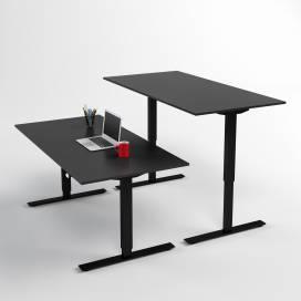 Höj- och sänkbart skrivbord, Svart stativ och svart skiva