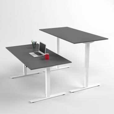 Höj- och sänkbart skrivbord, Vitt stativ och mörkgrå skiva