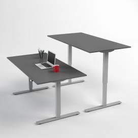 Höj- och sänkbart skrivbord, Silverstativ och mörkgrå skiva