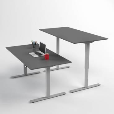 Höj- och sänkbart skrivbord, Silver stativ och mörkgrå skiva