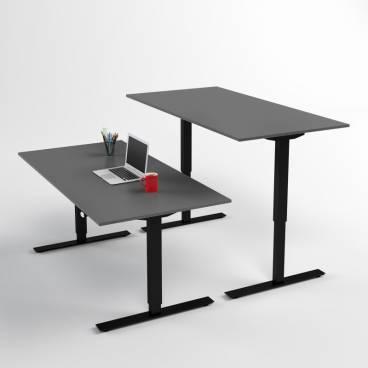 Höj- och sänkbart skrivbord, Svart stativ och mörkgrå skiva