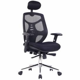 Yuma komfortstol med hög rygg och nackstöd med kromstativ - Svart
