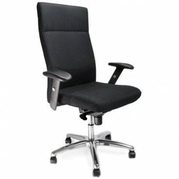 Charlotte komfortstol med hög rygg och justerbara armar och kromstativ - Svart