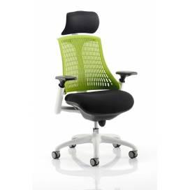 Piero, Designstol med vit ram - Grönt ryggstöd