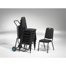 Style Stapelbar Stol - Grå Stativ med Tyg - Svart