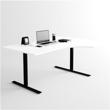Svängt höj- och sänkbart skrivbord, svart stativ och vit skiva