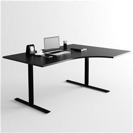 Svängt höj- och sänkbart skrivbord, svart stativ och svart skiva